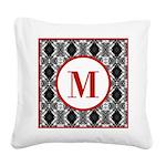 Diamond Red Monogram Square Canvas Pillow