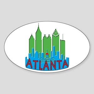 Atlanta Skyline Newwave Primary Sticker (Oval)