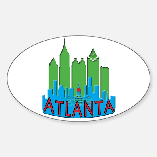 Atlanta Skyline Newwave Primary Sticker (Oval)
