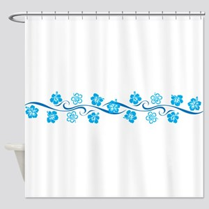 Flower Wave Stripe Shower Curtain