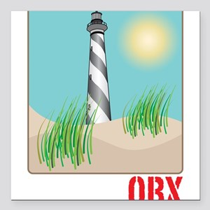 "North Carolina - OBX Square Car Magnet 3"" x 3"""