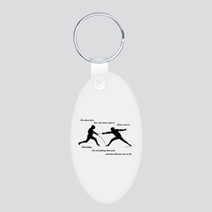 Hit First Aluminum Oval Keychain