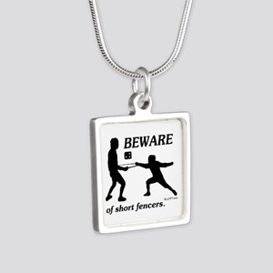 Beware of Short Fencers Silver Square Necklace