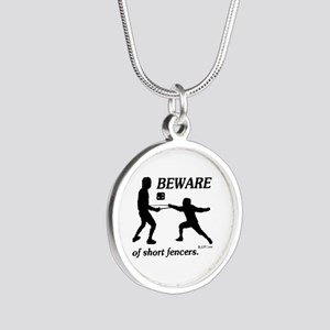 Beware of Short Fencers Silver Round Necklace