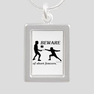 Beware of Short Fencers Silver Portrait Necklace