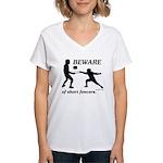 Beware of Short Fencers Women's V-Neck T-Shirt