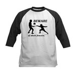 Beware of Short Fencers Kids Baseball Jersey