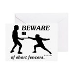 Beware of Short Fencers Greeting Cards (Pk of 20)