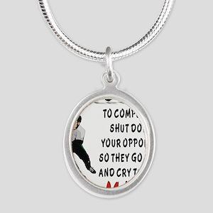 DEFENSE Silver Oval Necklace