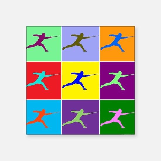 """Pop Art Lunge Square Sticker 3"""" x 3"""""""