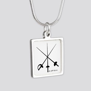 Three Weapon Silver Square Necklace