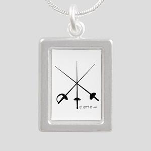 Three Weapon Silver Portrait Necklace