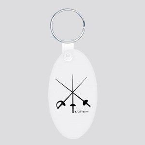 Three Weapon Aluminum Oval Keychain