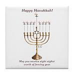 Fencing Hanukkah Tile Coaster