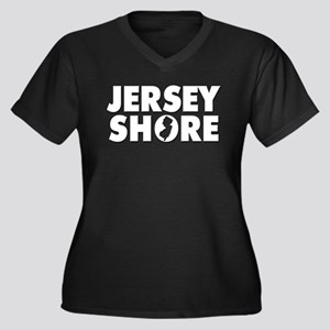 JERSEY SHORE Women's Plus Size V-Neck Dark T-Shirt