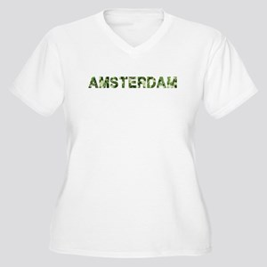 Amsterdam, Vintage Camo, Women's Plus Size V-Neck