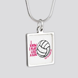 Play Volleyball Like a Girl Silver Square Necklace