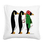 Penguin Christmas Three Square Canvas Pillow