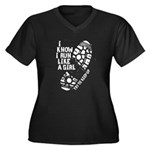 I Know I Run Women's Plus Size V-Neck Dark T-Shirt