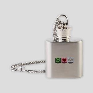 Peace Love Auto Racing Flask Necklace