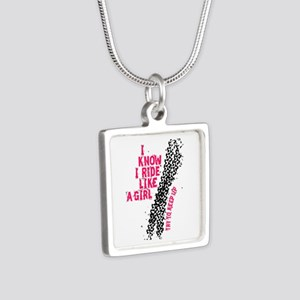 I Ride Like A Girl Silver Square Necklace