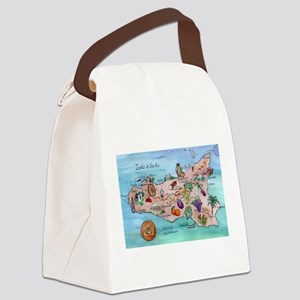 Map Of Sicily Canvas Lunch Bag