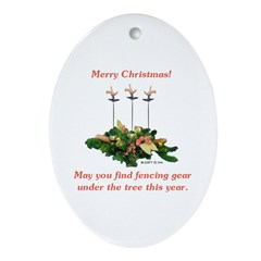 Fencing Christmas Ornament (Oval)