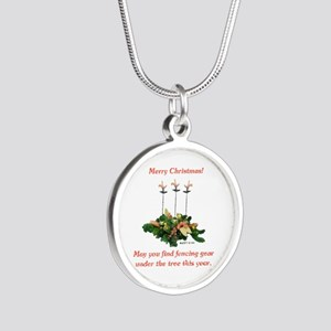 Fencing Christmas Silver Round Necklace