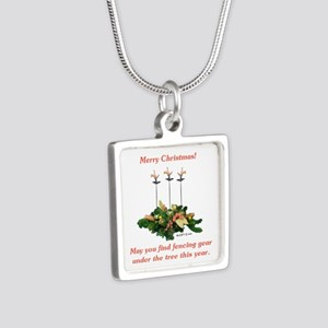 Fencing Christmas Silver Square Necklace