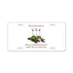 Fencing Christmas Aluminum License Plate