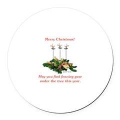 Fencing Christmas Round Car Magnet