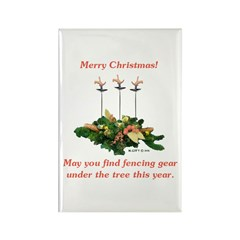 Fencing Christmas Rectangle Magnet (10 pack)