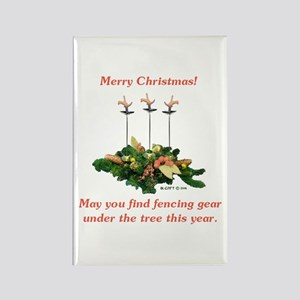 Fencing Christmas Rectangle Magnet