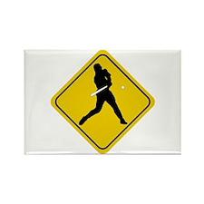 Baseball Crossing Sign Rectangle Magnet