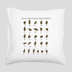 ASL Alphabet Square Canvas Pillow