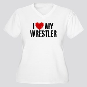 I Love My Wrestler Women's Plus Size V-Neck T-Shir