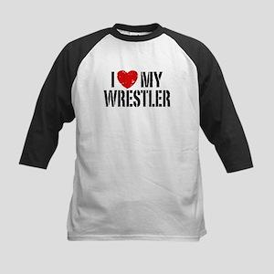 I Love My Wrestler Kids Baseball Jersey