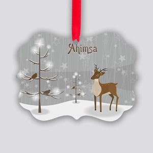 Ahimsa Holiday Picture Ornament