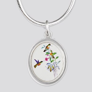 Hummingbirds Silver Oval Necklace