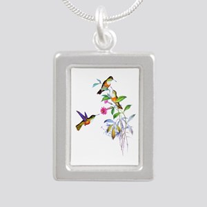 Hummingbirds Silver Portrait Necklace