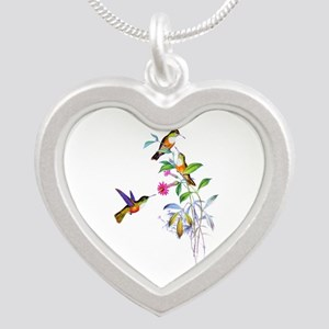 Hummingbirds Silver Heart Necklace