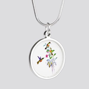 Hummingbirds Silver Round Necklace