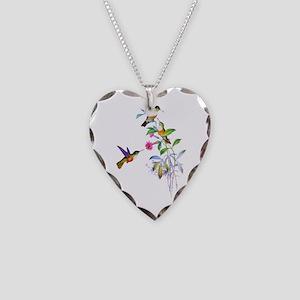 Hummingbirds Necklace Heart Charm