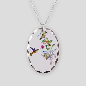 Hummingbirds Necklace Oval Charm