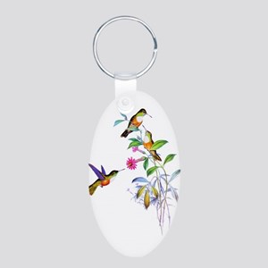 Hummingbirds Aluminum Oval Keychain