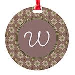Prairie Paisley Monogram Round Ornament