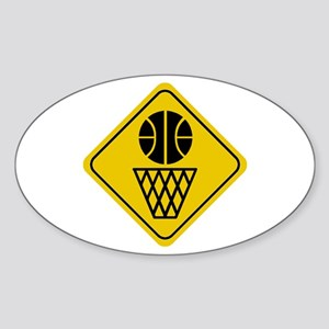 Basketball Crossing Sign Oval Sticker