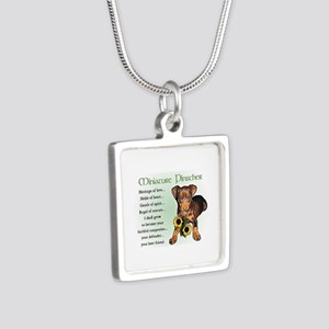 Miniature Pinscher Silver Square Necklace