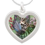 Butterfly #2 Silver Heart Necklace