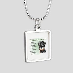 Miniature Schnauzer Silver Square Necklace